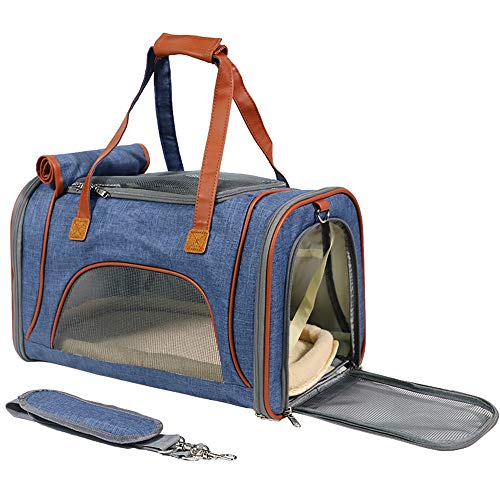 YXZhe Pet Travel Carriers for Small Medium Cats Dogs of 15Lbs, Airline Approved Cat Carriers Soft Sided Collapsible…
