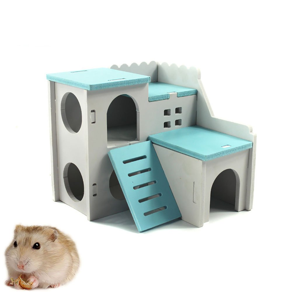 Kathson Wooden Hamster House Hideout Hut Rat Hideaway Exercise Toys for for Small Animals Like Dwarf Hamster and Mouse (Blue)