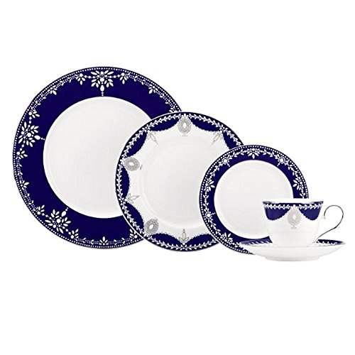 Lenox Marchesa Couture 5-Piece Place Setting, Empire Pearl Indigo (Couture Dinner Plate)