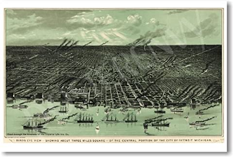 Birds Eye View of Detroit 1889 - NEW Vintage Map Travel Poster - Michigan Antique Map