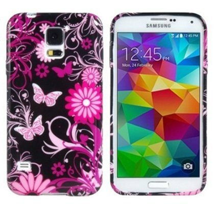 Tech Express (Tm) Pink Butterfly & Flowers on Black TPU Soft Gel Cover Case for Samsung Galaxy S5 SV