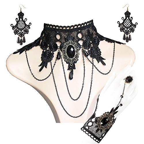 DREAMAC Gothic Lolita Retro Lace Choker Necklace Earrings Bracelet Wristband Black Flower Ring Clothing Accessories for Women ()