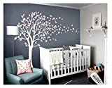 LUCKKYY Tree Blowing in The Wind Tree Wall Decals Wall Sticker Vinyl Art Kids Rooms Teen Girls Boys Wallpaper Murals Sticker Wall Stickers Nursery Decor Nursery Decals (Light White Purple+Pink)