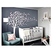 LUCKKYY Tree Blowing in The Wind Tree Wall Decals Wall Sticker Vinyl Art Kids Rooms Teen Girls Boys Wallpaper Murals Sticker Wall Stickers Nursery Decor Nursery Decals (White +Pink)