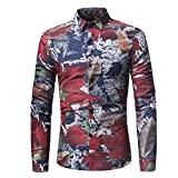 Men Floral Shirts Maple Leaf Printed Slim Autumn Dress Button Shirts Tops Zulmaliu(M-3XL) (Red, L)