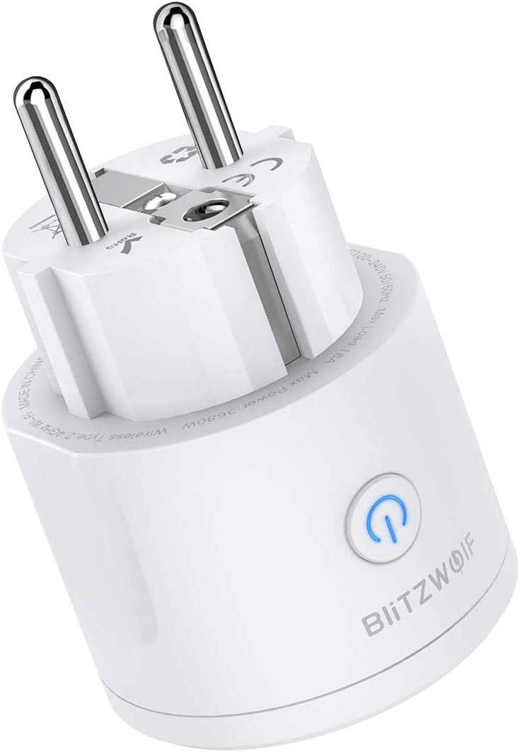 Enchufe Inteligente Wifi, BlitzWolf 16A Mini Wifi Smart Plug Smart Funciona con Alexa Google Assistant BW Tuya App Control remoto en Cualquier Lugar y en Cualquier Momento Función de Temporización