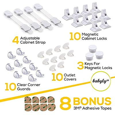 Complete Baby Proofing Kit – Easy Install, Super 3M Adhesive 10 Magnetic Cabinet Locks, 3 Keys, 10 clear Corner Protectors, 10 Outlet Covers & 4 Cabinet Door Latches, No Drill Required Safety Set
