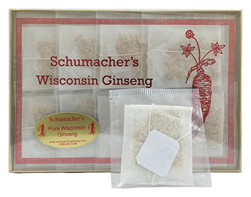 American Ginseng Tea, 100% Pure Wisconsin Ginseng roots - BEST Herbal Tea made from Wisconsin Ginseng roots. Tea helps with Anxiety, Stress, Energy, Fatigue, Libido, Health. by Schumacher Ginseng