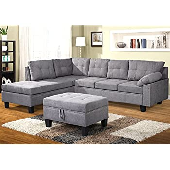 Captivating Harper U0026 Bright Designs Sectional Sofa Set With Chaise Lounge And Storage  Ottoman Nail Head Detail