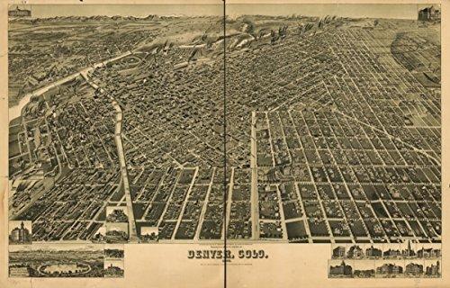 1889 map of Denver, Colorado Perspective of the city of Denver, Colo. 1889. H. W