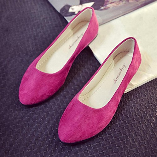 Femme Mules Vif Casual Large Chaussures Pointure Mariage Rose Style Sude Plates En overdose Ballerines wgqxOIPX