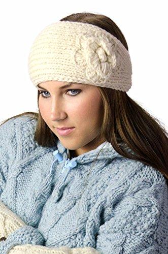 TCG Women's Hand Knit Wool Flowery Headband - Cream
