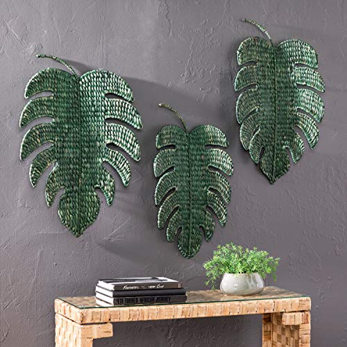 Palm Leaf Wall Sculpture - Green Woven Palm Leaf Wall Art Tropical Leaves Wall Decor Sculpture Floral Design Hanging Wall Sign Indoor Home Decor Unique Creative Boho Nature Inspired Beach Themed Handmade Best Gift, 20.5
