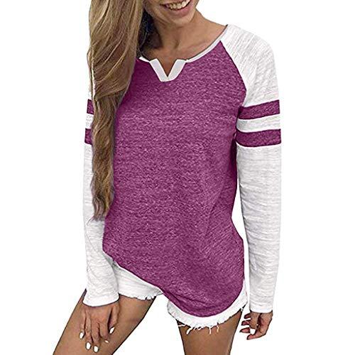 Cotone Estate Casual Primavera Maglietta Camicia Moda V Donna collo shirt Elegante T Patchwork Hot Top Pink Lunga Loose Bazhahei camicetta Pullover Manica aOSxvnv