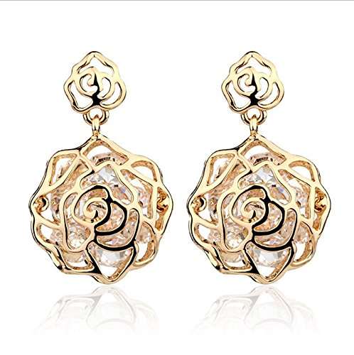 Adorable Woman Hollow Out the Rose Flower Earring Plated,zircon
