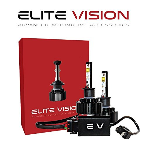 - Elite Vision Advanced Automotive Accessories - Elite LED Conversion Kit H1 for Bright White Headlights Bulbs, Low Beams, High Beams, Fog Lights