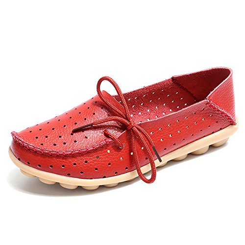 (Women's Leather Casual Loafer Shoes, Floral Hollow Out Driving Casual Shoes Indoor Flat Slip-on Slippers Red )