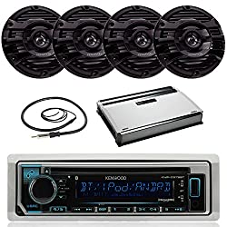 Kenwood Marine Bluetooth CD MP3 USB AUX iPod iPhone Radio Stereo Player With 4 X 6.5 Inch Kenwood Marine Audio Speakers 4 Channel Amplifier And Enrock 45 Antenna - Complete Audio Package (Black)