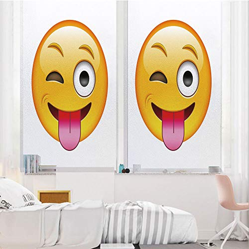 Emoji 3D No Glue Static Decorative Privacy Window Films, Cartoon Like Technologic Smiley Flirty Sarcastic Happy Face with Tongue Modern Print,17.7