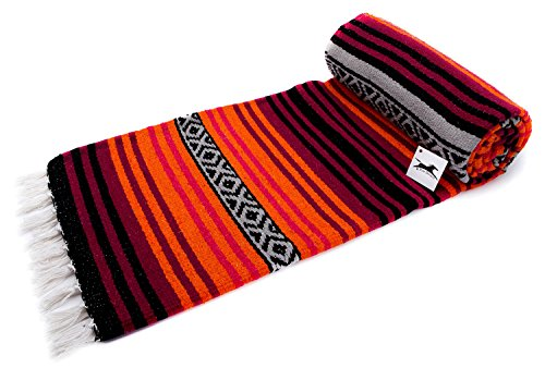 El Paso Designs Peyote Hippie Blanket . Classic Mexican Style Falsa Stripe Pattern in Vivid Peyote Colors. Throw, Bed, Tapestry, or Yoga Blanket. Hand Woven Acrylic, 57