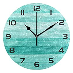 One Bear Teal Turquoise Green Wood Round Wall Clock, Silent Non Ticking Battery Operated Oil Painting Decorative for Home Office School Clock Art