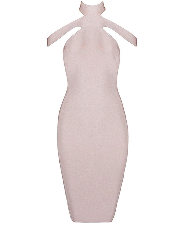 Whoinshop Damen Cut Halter Ansatz heraus weg von der Schulter Bandage Kleider PartyKleid