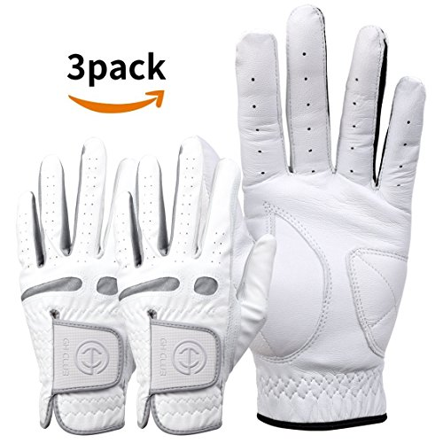 GH Men's Half-Cabretta leather (Sheepskin) Golf Gloves Worn on Left Hand (Half-Cabretta Gray 3Pack, 25 (XL))