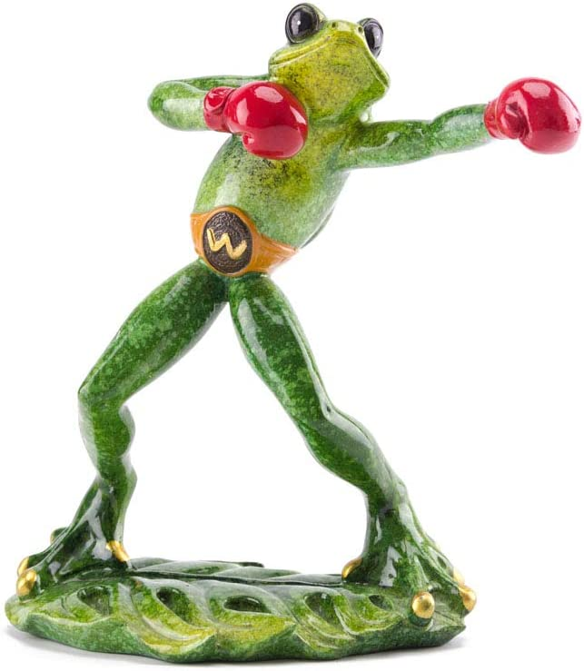 Firefighter Frog Fireman Glazed Figurine Resin Craft Sculpture Home and Office Decor (Boxing)