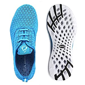 AMOJI Water Aqua Shoes Swim Beach Sneaker Athletic Tennis Shoes Hiking Sport Slip On Surfing Quick Drying Breathable Rafting Walking Female Men Women Ladies Male Adult Blue 8US Women/7US Men