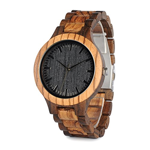 BOBO BIRD D30 Mens Bamboo Wooden Watch Analog Quartz Black Handmade Casual Watches