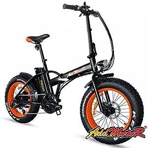 Addmotor Motan Electric Fat Tire 20Inch Bikes 500w 48v Snow Folding Bicycles Lithium Battery 4 Colors M-150 E-bikes For Men(Orange)