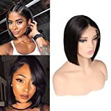 ITODAY Bob Wig For Black Women Brazilian Straight Remy Hair 130% Density Natural Hairline Baby Hair Glueless Lace Front Wigs Human Hair Natural Color (8 inch)