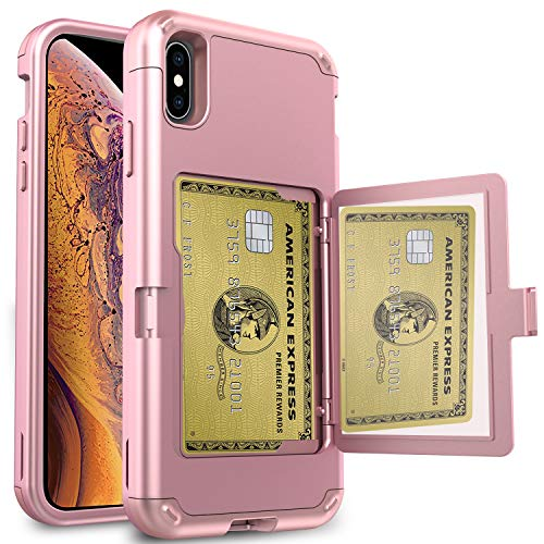 AMENQ Wallet Case for iPhone Xs Max, iPhone Max Card Case Three Layers Full Body TPU Bumper and PC Card Holder Back of Phone Protective Armor Bumper Cover for Women Girls (Rose Gold) (Best Iphone Insurance 2019)