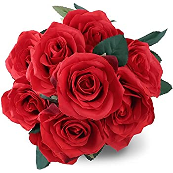Silk Red Rose 10 Heads SOLEDI Artificial Flower French Rose Fake For Bridal  Bouquet Wedding Living