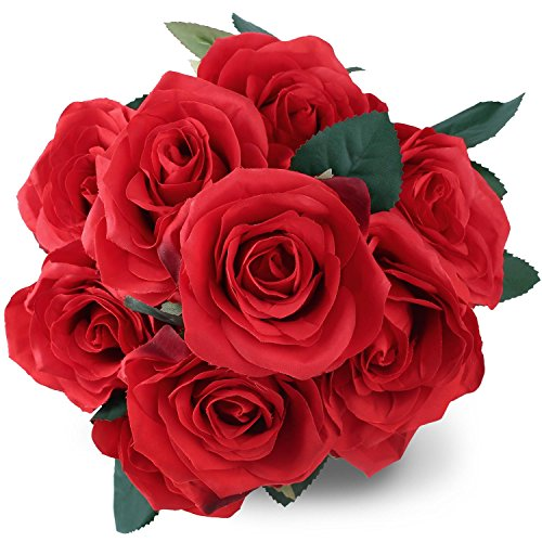 Silk Red Rose 10 Heads SOLEDI Artificial Flower French Rose Fake for Bridal Bouquet Wedding Living Room Table Home Garden Decoration