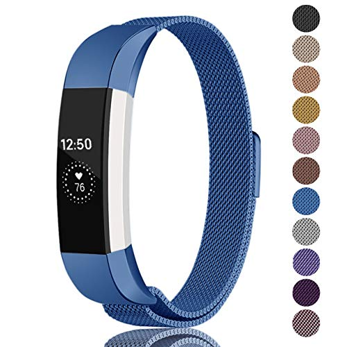 Fundro Compatible Fitbit Alta HR and Alta Bands (2 Pack), Stainless Steel Metal Milanese Bracelet Strap Replacement Wristband Magnetic Lock for Fitbit Alta Women Men (1-Pack Blue, Small)