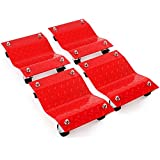"""4 - Red 12"""" Tire Premium Skates Wheel Car Dolly Ball Bearings Skate Makes Moving A Car Easy Furniture Movers"""