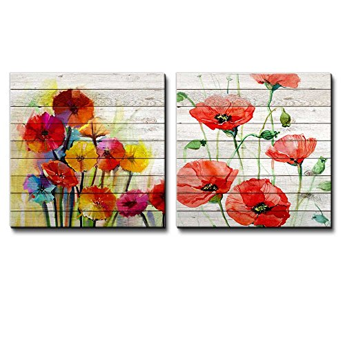 Colorful Watercolor Bouquet of Flowers Along with Red Poppy Flowers Over White Wooden Panels