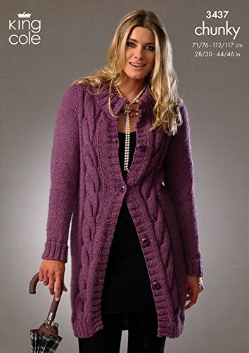 King Cole Ladies Cardigan Sweater Chunky Knitting Pattern 3437