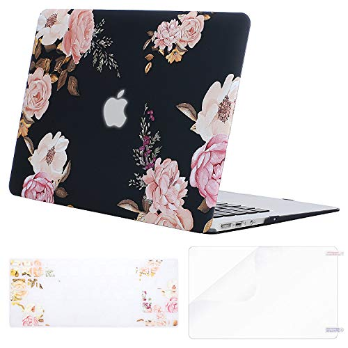 MOSISO MacBook Air 13 Inch Case (A1369 & A1466, Older Version 2010-2017 Release), Plastic Flower Pattern Hard Shell&Keyboard Cover&Screen Protector Only Compatible MacBook Air 13, Peony Blossom