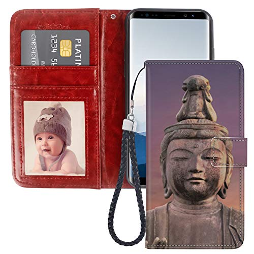 sumsang Galaxy Note 8 note8 Wallet case Buddha Statue tri Colored Glazed Pottery bodhisattva Portrait Stone Bless TPU Leather Cash Pocket Magnetic Clasp Credit Card Slot Cover Stand ()