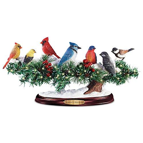 Songbird Sculpture: Lifelike Lights Up Winter Bird Sculpture With Sound by The Bradford Exchange -