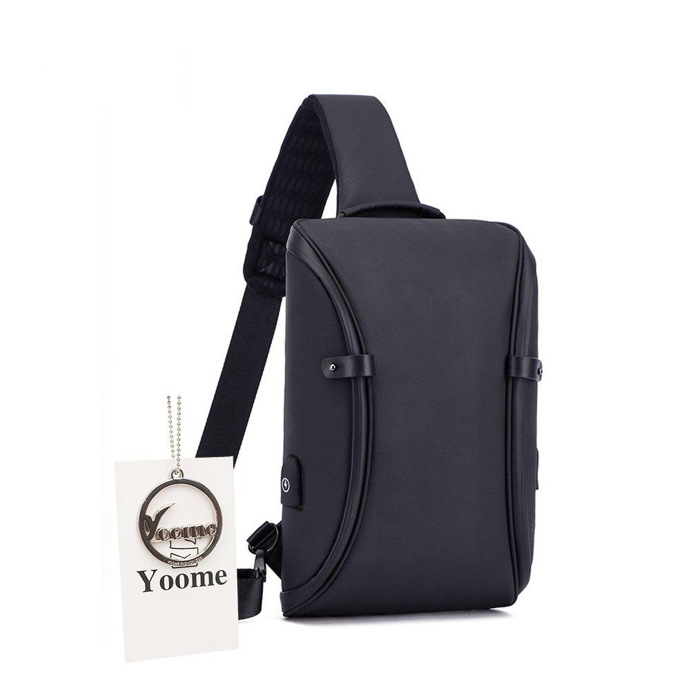 Yoomeシンプルなデザインスリングバッグ盗難防止One StrapバックパックメンズMultipurpose Daypack with USB充電ポート、多目的、防水  ブラック B07CWKWK2T
