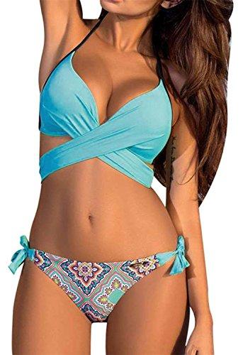 Yknktstc Womens Push Up Bandage Bikini Swimsuit Bathing Suit Swimwear XX-Large Aqua Flower