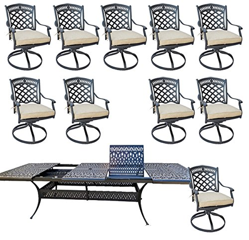 11 Piece Outdoor Dining Set Patio Furniture Cast Aluminum with Elisabeth 48
