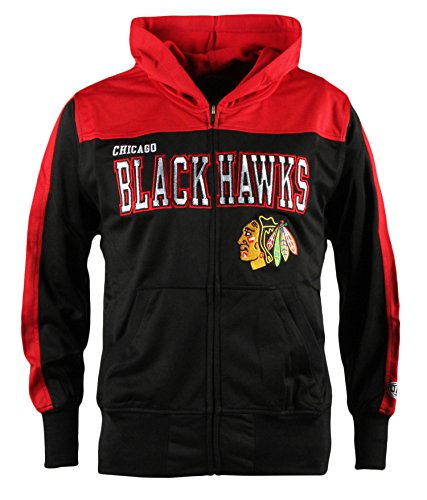 (Old Time Hockey NHL Chicago Blackhawks Youth Boreland Full-Zip Hoodie, Medium, Black)