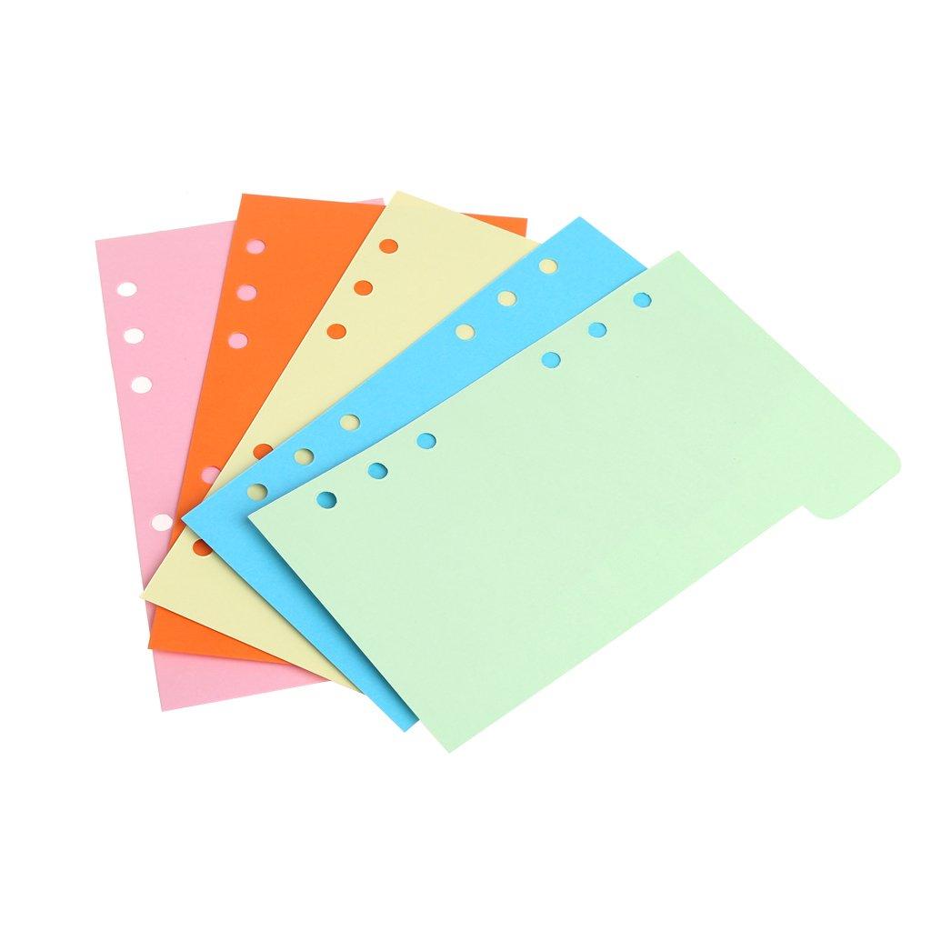 Seiten YOFO 5 x A5 Einsteckbare Register Ordnungskarten f/ür Filofax-Notizbuch // Reisetagebuch // Planer A6 Register Karten farbige Hefter mit 6 L/öchern