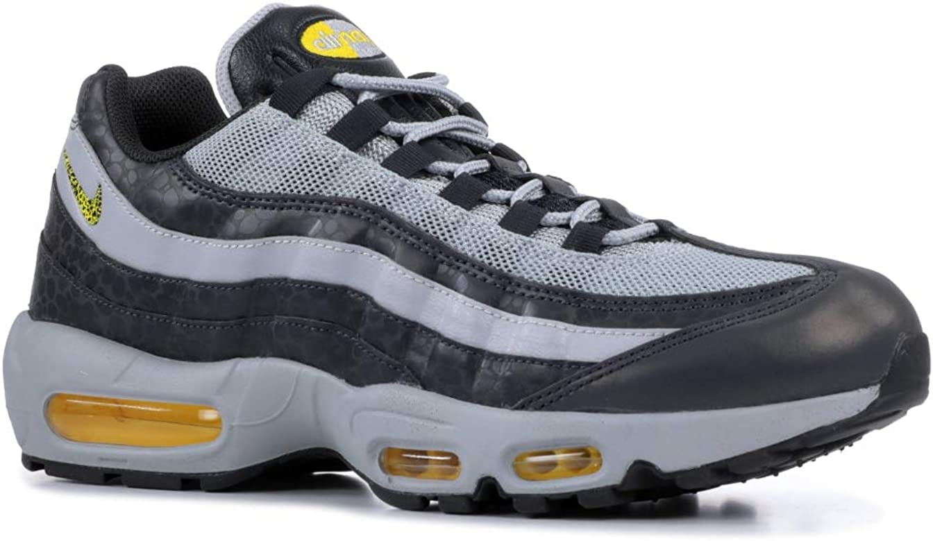 a43b9f8633 Nike Men's Air Max 95 Off Noir/Dynamic Yellow/Atmosphere Grey Leather Cross-