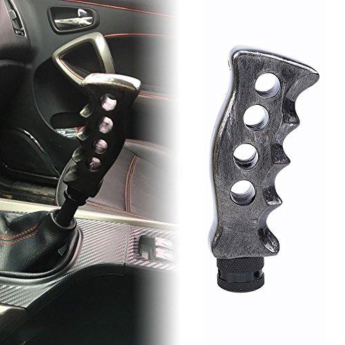 MotorFansClub Manual Shift Knob Gear Head Shifter Lever Gun Handle Gatling Pistol Grip Adapter (Silver)