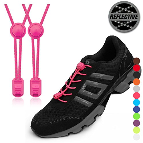 (StoutGears Reflective No Tie Shoelaces Lock System - Elastic Shoelaces for Sneakers (1 Pair) (Pink))